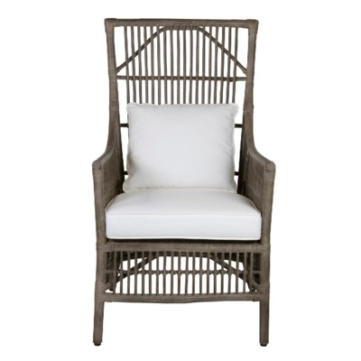 Winston Rattan High Back Arm Chair Grey 24x27x43