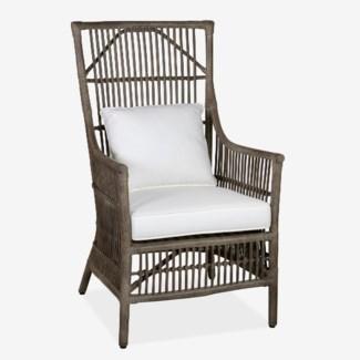 Winston Rattan High Back Arm Chair - Grey MOQ 2 - (24x27x43)
