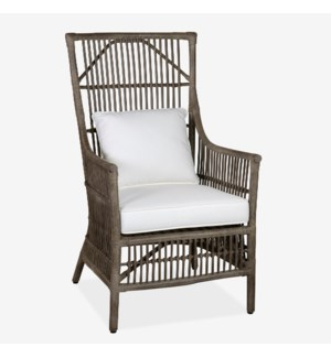 Winston Rattan High Back Arm Chair - Grey