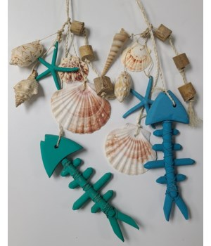 BLUE/GREEN FISH BONE WALL HANGER