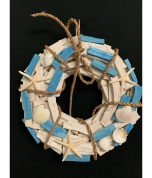 WOOD WREATH BLUE/WHITE 13""