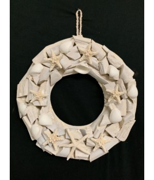 WOOD WREATH WHITE 13""