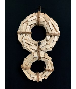 WOOD WREATH NATURAL W/ ROPE 9""