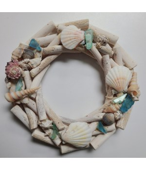 "10"" DRIFTWOOD WREATH W/ SHELLS & SEAGLASS"