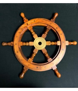 "18"" WOODEN SHIP WHEEL"