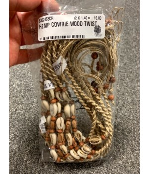 HEMP COWRIE WOOD TWIST