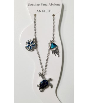 JELLYFISH, TURTLE, SAND DOLLAR PAUA ANKLET
