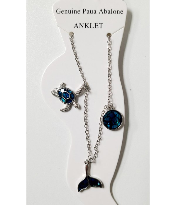 TURTLE, WHALETAIL, SCALE PAUA ANKLET