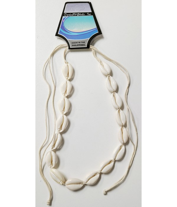 14-CUT COWRIE NECKLACE ADJUSTABLE WHITE CORD