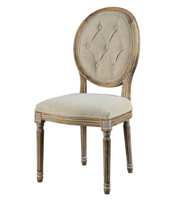 -Meg Tufted Side Chair (French Linen)