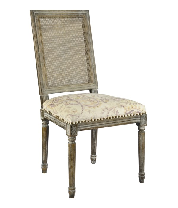 -*Square Maxwell Side Chair W/ Cane - Grey House
