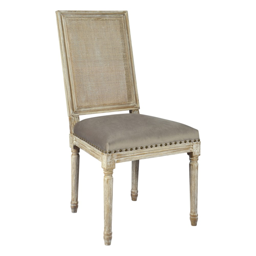 -Square Maxwell Side Chair W/ Cane(Cottage White w/ Chantel Ash)