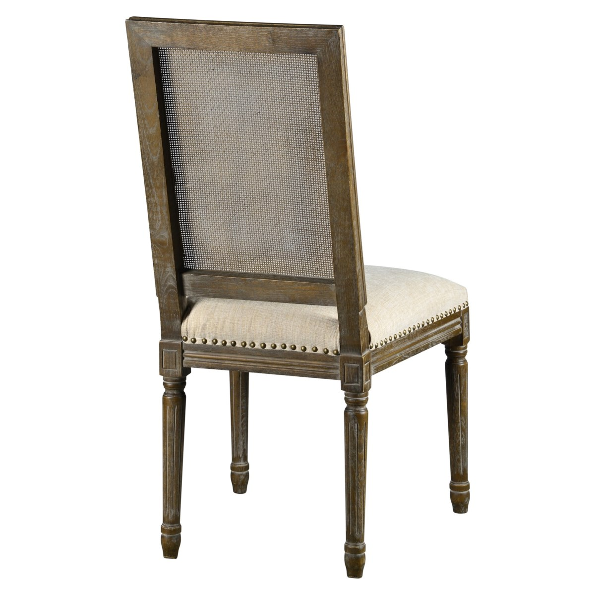 -Square Maxwell Side Chair W/ Cane(French Linen)