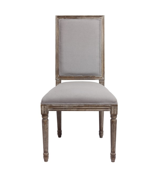 -*Square Maxwell Side Chair (Dyed Grey Oatmeal Linen)