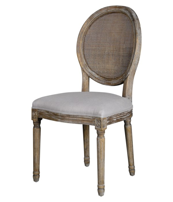 -*Round Mesh Back Maxwell Side Chair (Dyed Grey Oatmeal Linen)