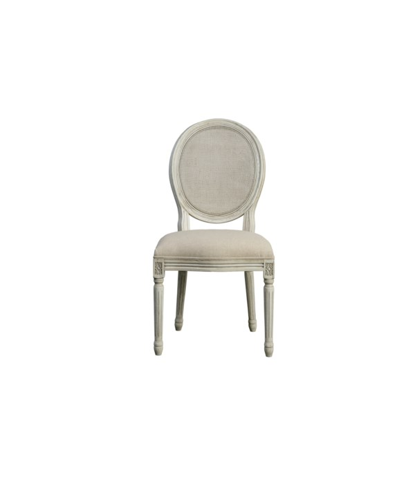 -*Round Mesh Back Maxwell Cottage White Side Chair (Oatmeal Linen)