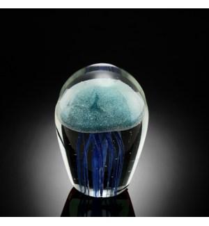 Art Glass Blue Jellyfish Glow in the Dark