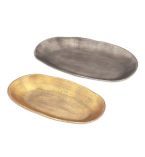 Gray and Brass Oval Platters