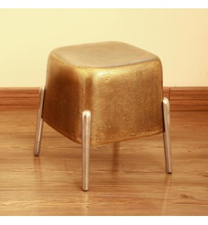 Brass and Nickel Finish Four Legged Side Table