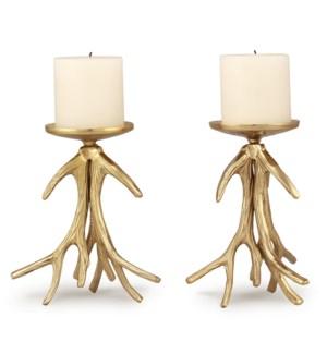 Antler Pillar Candleholders Set of 2