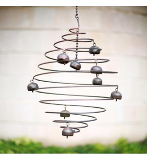 Copper Finish Wind Decor with Bells, Small