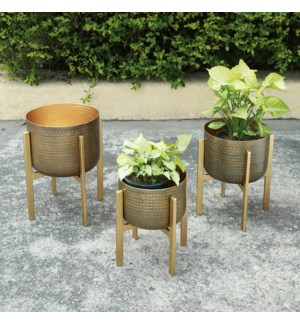 Hammered Metal Planter Holders with Stands, Set of 3