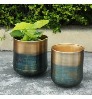 Burnt Brass Finish Planter Holder, Set of 2