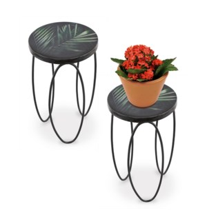 Tropical Leaf Plant Stands Set of 2