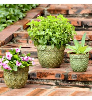 Round Olive Green Planters Set of 3