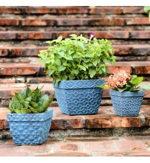 Square Gray Planters Set of 3