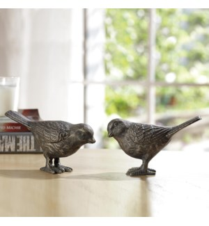 Large Chatty Birds Pair - Bronze Finish