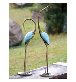 Stylized Garden Crane Pair Set of 2