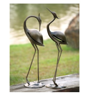 Stylized Garden Heron Pair Set of 2