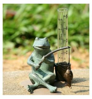 Frog Fisherman Rain Gauge