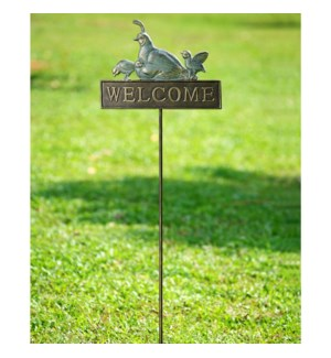 Quail Welcome Sign on Stake