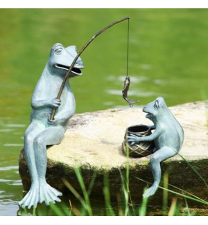 Fishing Frog Mama and Baby Garden Sculptures