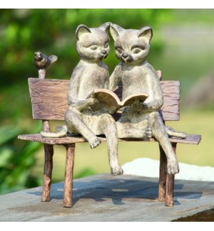 Reading Cats on Bench Garden Sculpture