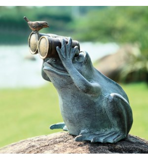 Frog Spectator with Bird Garden Sculpture