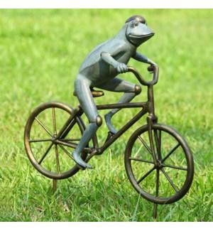 Frog on Bicycle Garden Sculpture