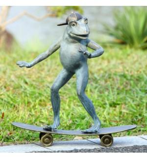 Radical Skateboarding Frog Garden Sculpture