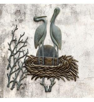 Crane Pair in Nest Wall Plaque