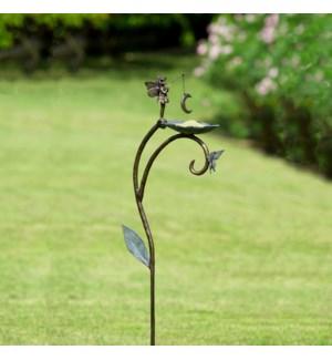 Moon Fairy Birdfeeder on Garden Stake