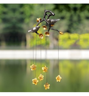 Lovebirds and Flowers Wind Chime