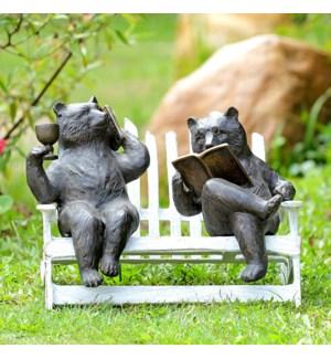 Hipster Bears on Bench Garden