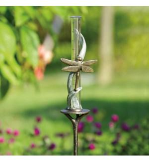 Dragonfly on Vine Rain Watcher Garden Stake