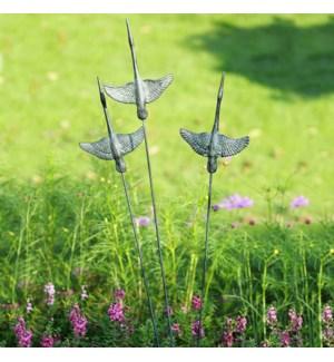 Crane Trio Garden Decor on Flexible Stake