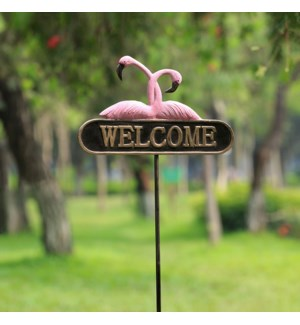 Romantic Flamingos Welcome Sign