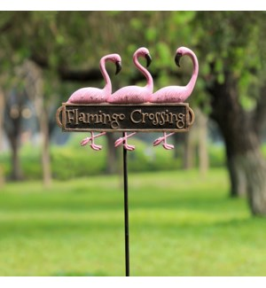 Flamingo Trio Welcome Sign on Stake