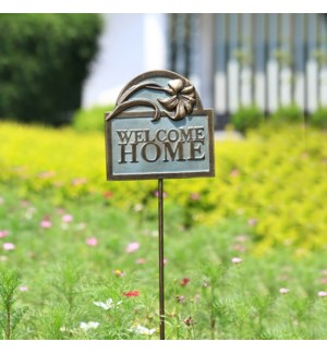 Welcome Home Flower Garden Sign on Stake