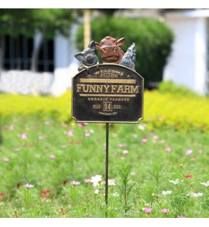 Funny Farm Garden Sign on Stake (Pig, Cow & Rooster)